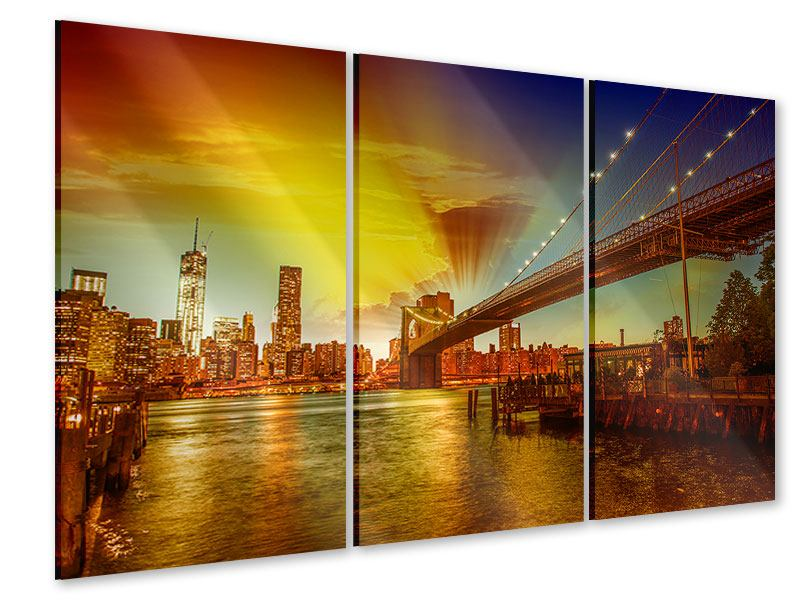 Acrylglasbild 3-teilig Skyline Brooklyn Bridge NY