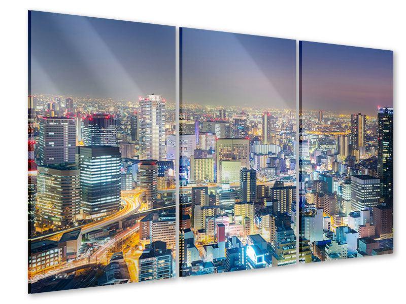Acrylglasbild 3-teilig Skyline Osaka bei Sonnenuntergang