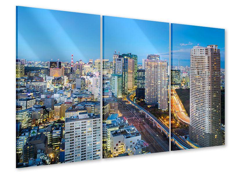 Acrylglasbild 3-teilig Skyline Tokio im Lichtermeer