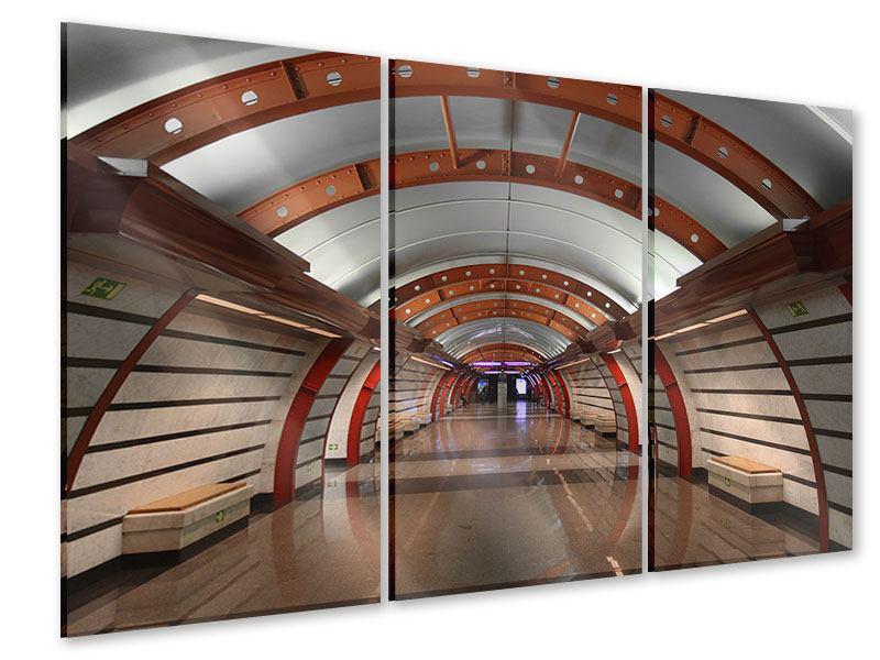 Acrylglasbild 3-teilig U-Bahn Station