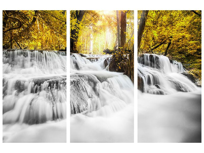 Acrylglasbild 3-teilig Wasser in Aktion