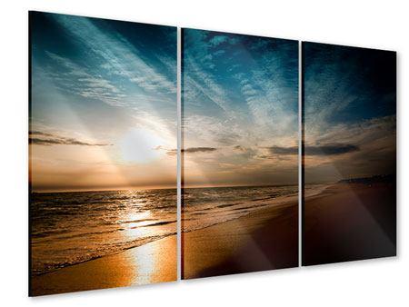 Acrylglasbild 3-teilig Strandspaziergang