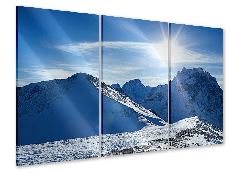 Acrylglasbild 3-teilig Der Berg im Schnee