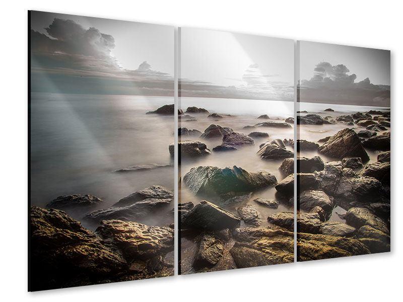 Acrylglasbild 3-teilig Steine am Strand