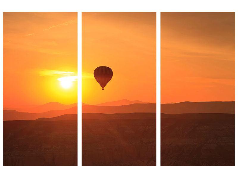 Acrylglasbild 3-teilig Heissluftballon bei Sonnenuntergang