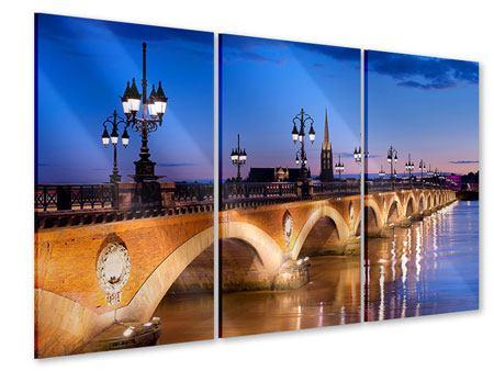 Acrylglasbild 3-teilig Pont De Pierre bei Sonnenuntergang
