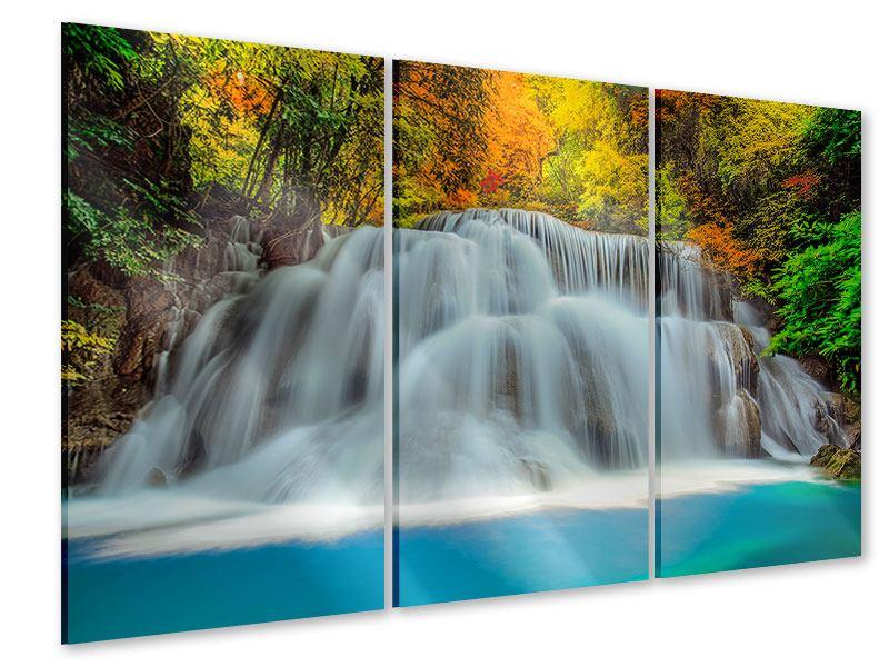 Acrylglasbild 3-teilig Fallendes Gewässer