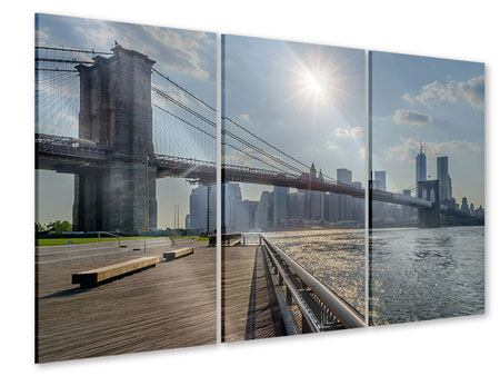 Acrylglasbild 3-teilig Brooklyn Bridge