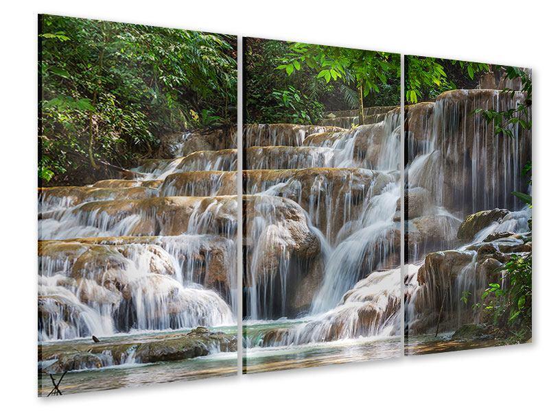 Acrylglasbild 3-teilig Mexikanischer Wasserfall