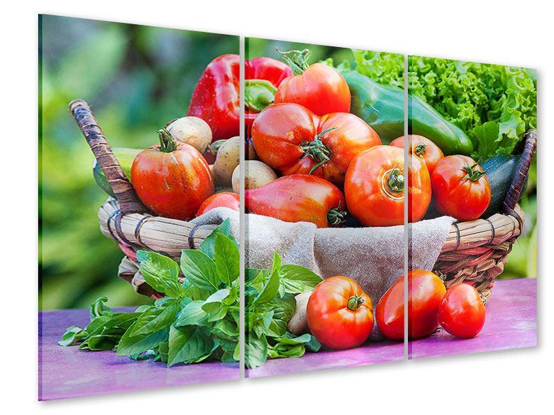 Acrylglasbild 3-teilig Gemüsekorb