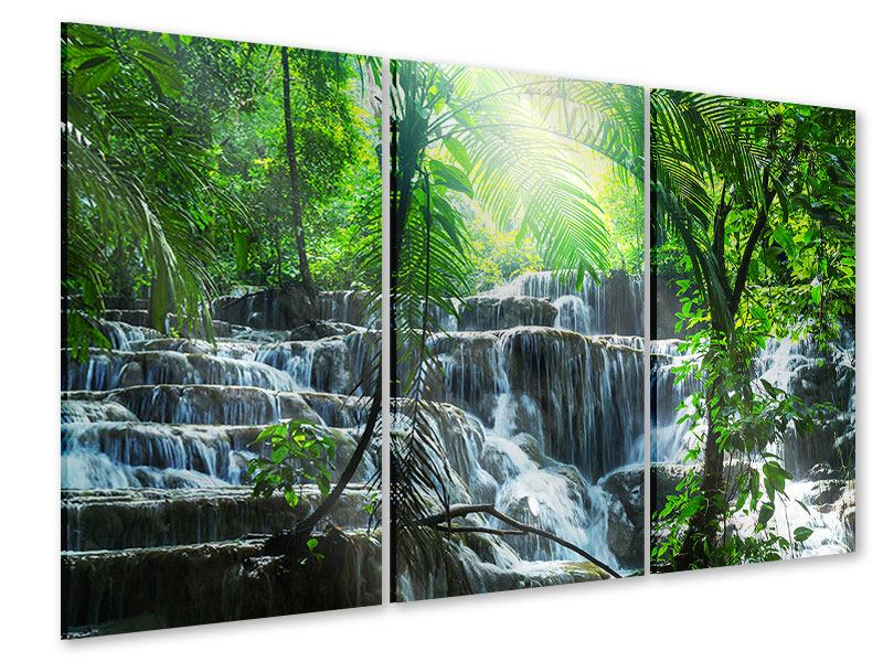 Acrylglasbild 3-teilig Wasserfall Agua Azul