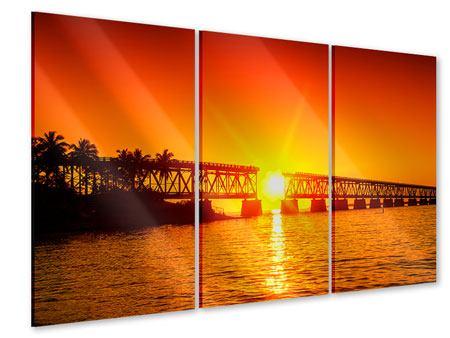 Acrylglasbild 3-teilig Sonnenuntergang an der Brücke