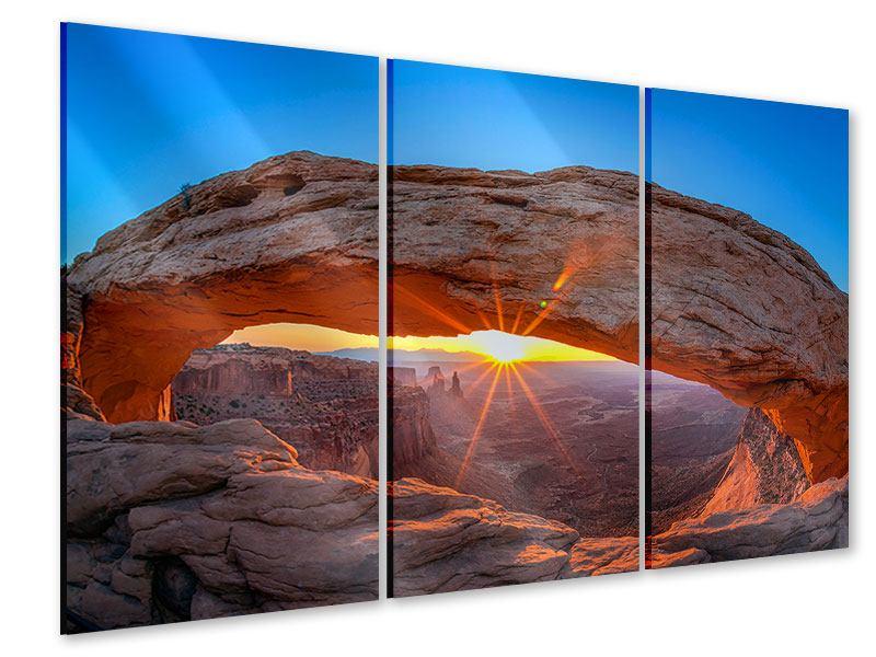 Acrylglasbild 3-teilig Sonnenuntergang am Mesa Arch