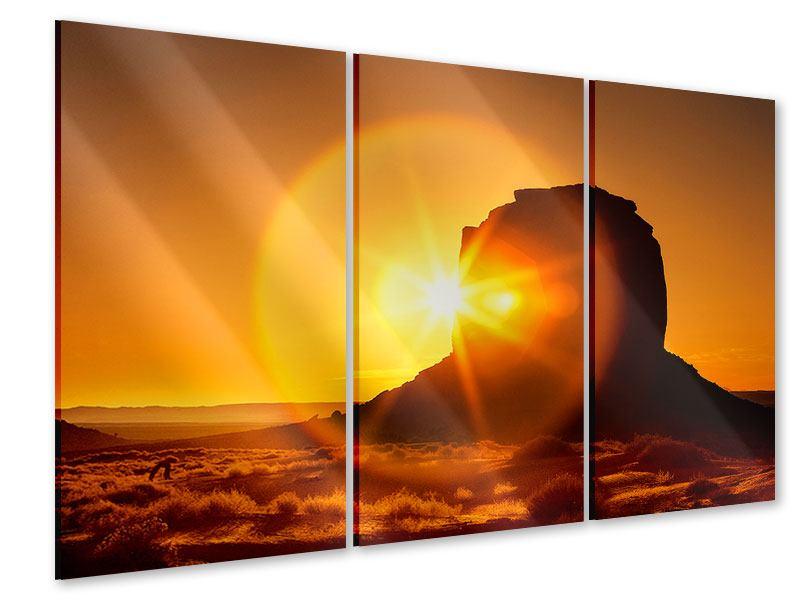 Acrylglasbild 3-teilig Sonnenuntergang Monument Valley
