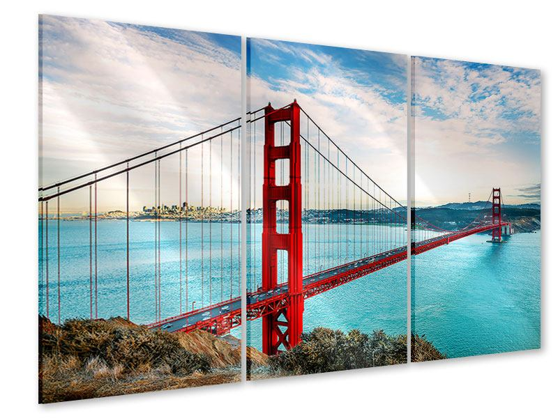Acrylglasbild 3-teilig Golden Gate Bridge