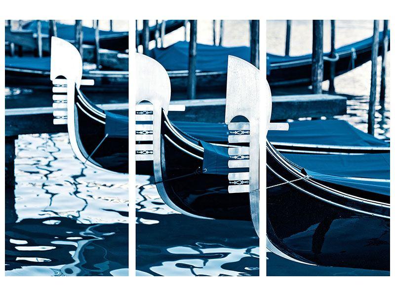 Acrylglasbild 3-teilig Gondeln in Venedig
