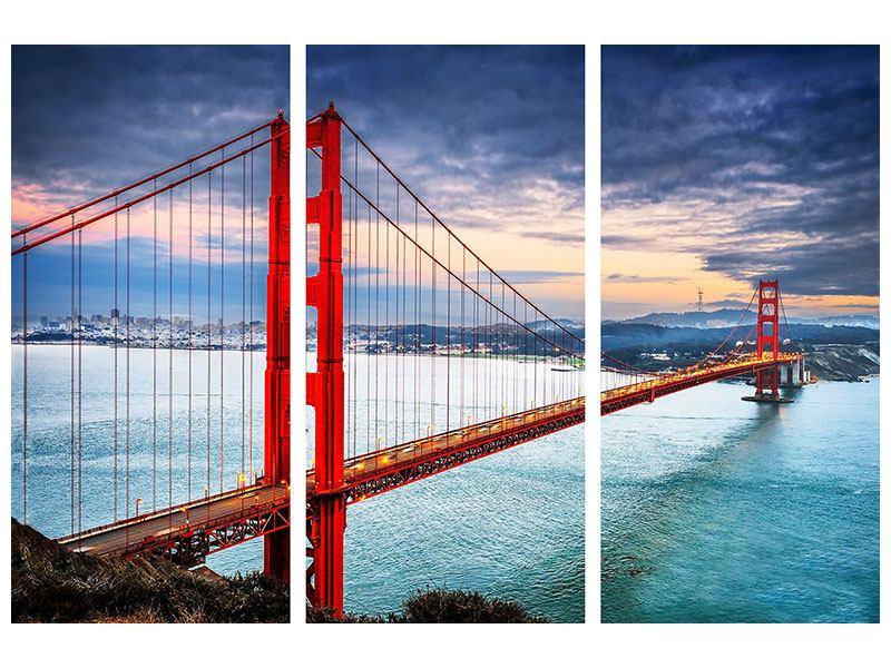 Acrylglasbild 3-teilig Der Golden Gate Bridge bei Sonnenuntergang