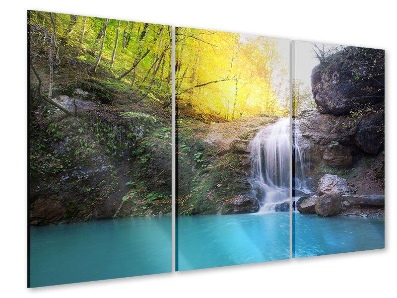 Acrylglasbild 3-teilig Fliessender Wasserfall