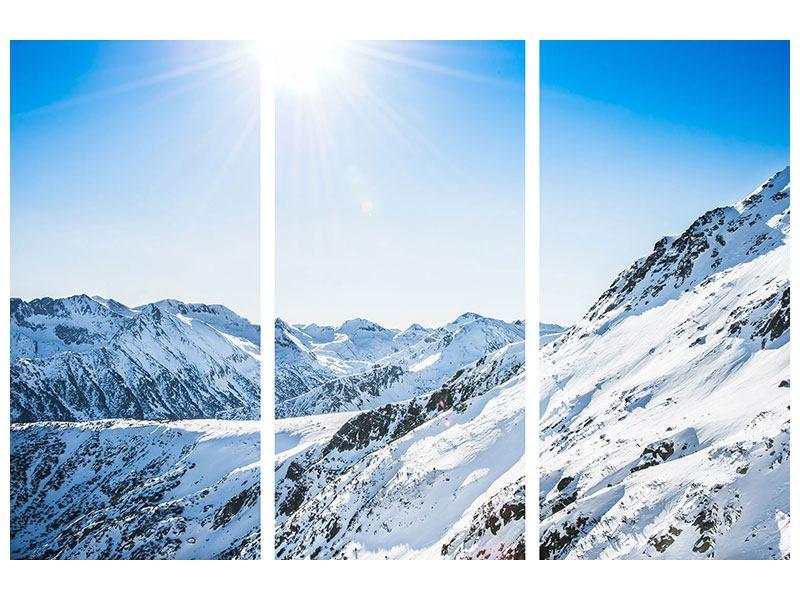 Acrylglasbild 3-teilig Bergpanorama im Schnee