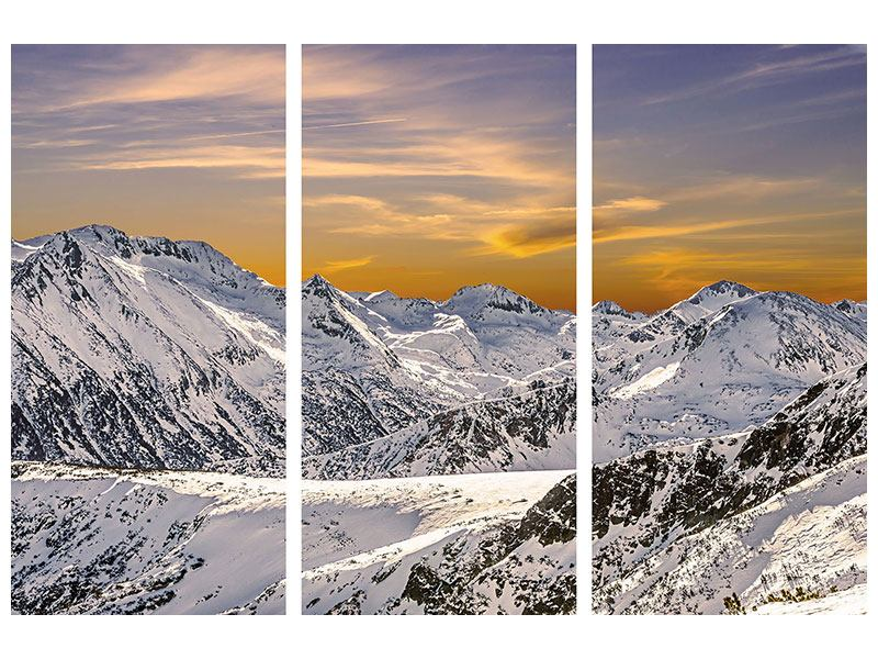 Acrylglasbild 3-teilig Sonnenuntergang in den Bergen