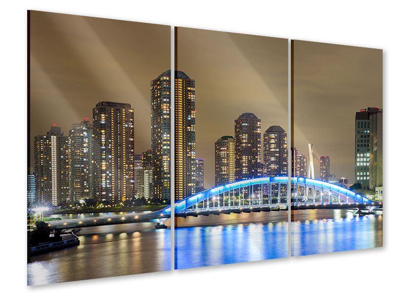 Acrylglasbild 3-teilig Skyline Tokio in der Nacht