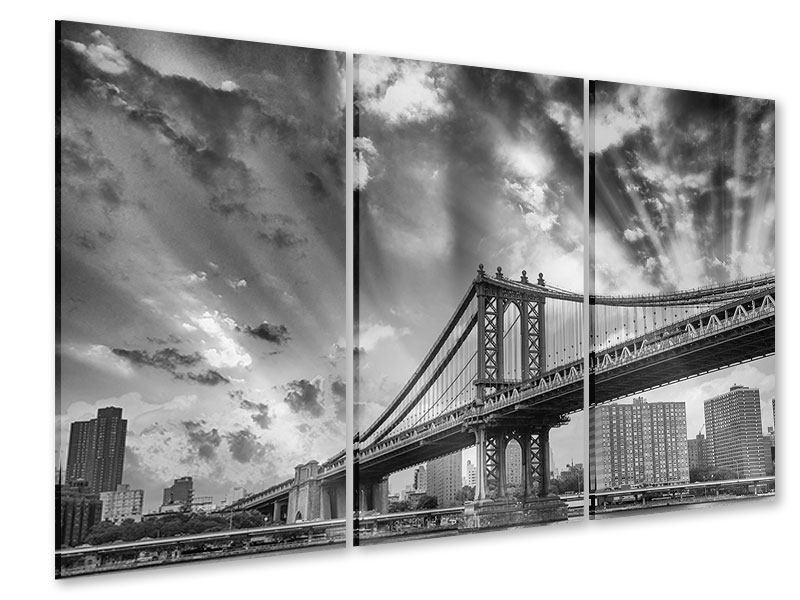 Acrylglasbild 3-teilig Manhattan Bridge