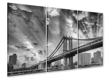 Acrylglasbild 3-teilig Manhattan Bridge