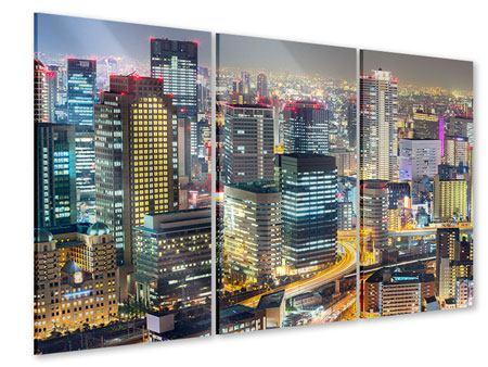 Acrylglasbild 3-teilig Skyline Osaka im Lichtermeer