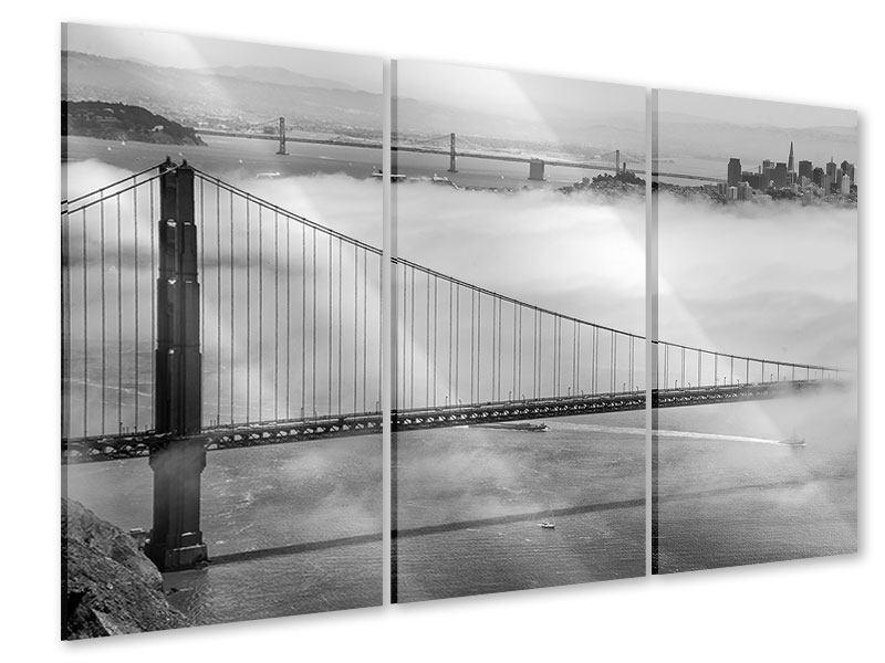 Acrylglasbild 3-teilig Golden Gate Brücke