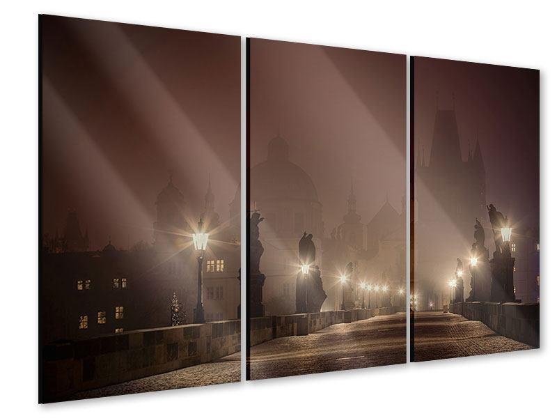 Acrylglasbild 3-teilig Die Karlsbrücke bei Nacht