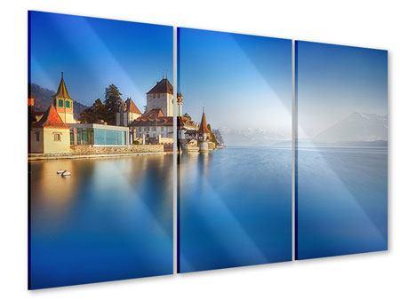 Acrylglasbild 3-teilig Schloss Oberhofen am Thunersee