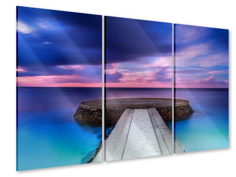 Acrylglasbild 3-teilig Meditation am Meer