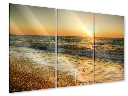Acrylglasbild 3-teilig Sonnenuntergang am Meer