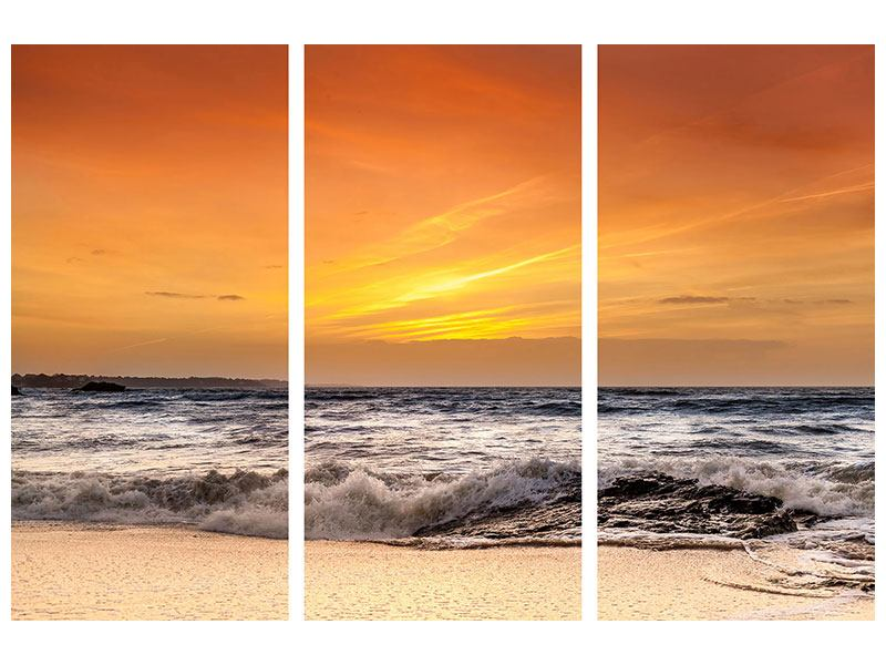 Acrylglasbild 3-teilig See mit Sonnenuntergang