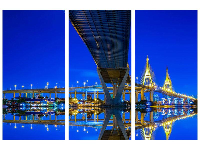 Acrylglasbild 3-teilig Bhumiboll-Brücke