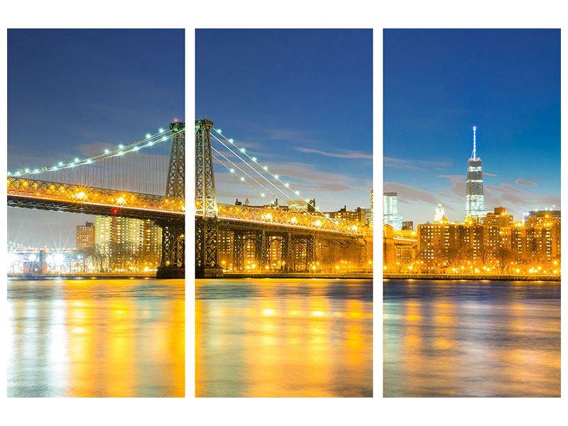 Acrylglasbild 3-teilig Brooklyn Bridge bei Nacht