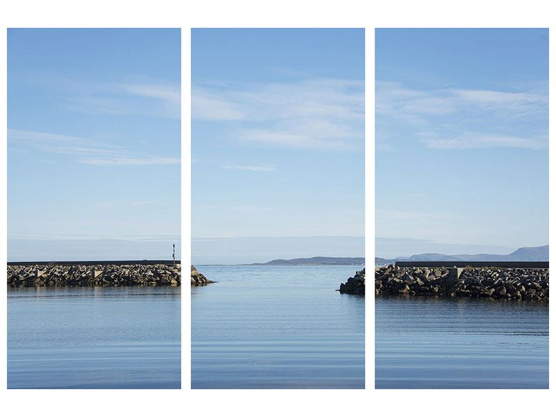 Acrylglasbild 3-teilig Hafenmauern