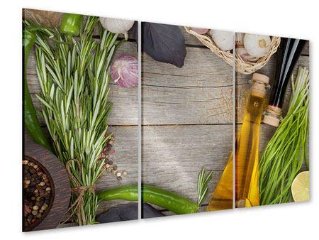 Acrylglasbild 3-teilig Gewürze Italiano