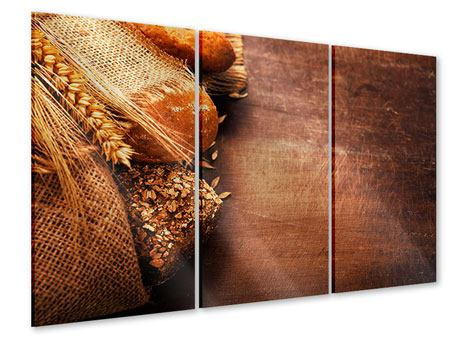 Acrylglasbild 3-teilig Frische Brote
