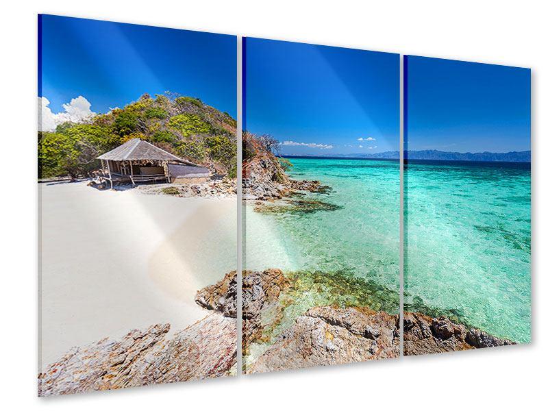 Acrylglasbild 3-teilig Das Haus am Strand