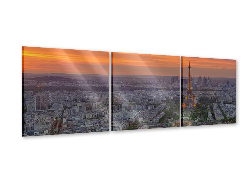 Panorama Acrylglasbild 3-teilig Skyline Paris bei Sonnenuntergang