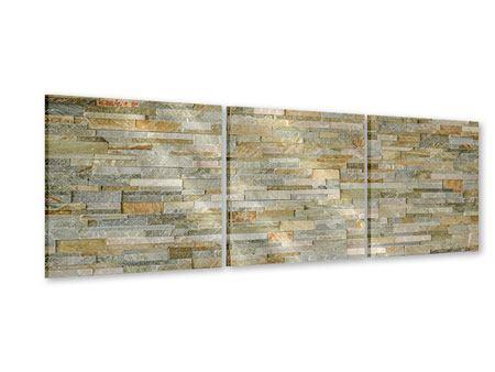 Panorama Acrylglasbild 3-teilig Edle Steinmauer