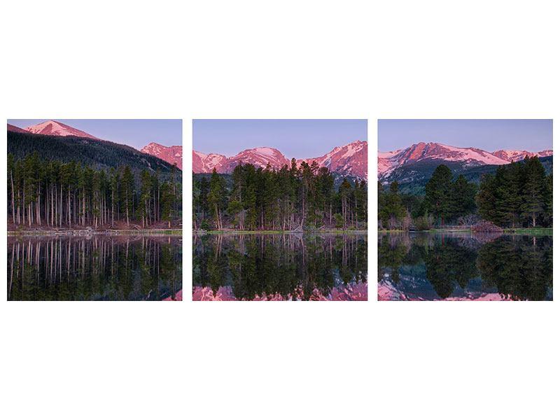Panorama Acrylglasbild 3-teilig Sprague Lake-Rocky Mountains