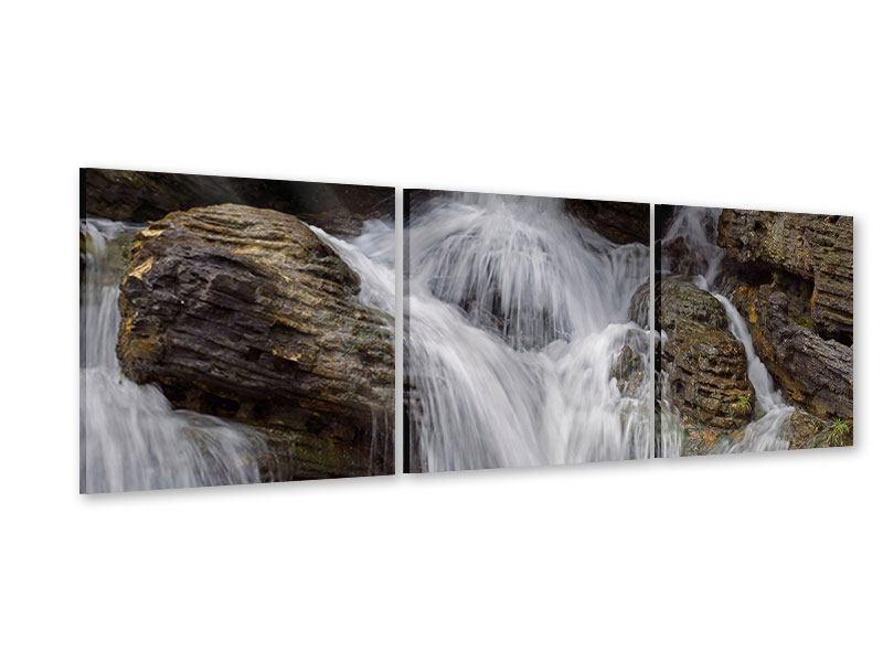 Panorama Acrylglasbild 3-teilig Wasserfall XXL