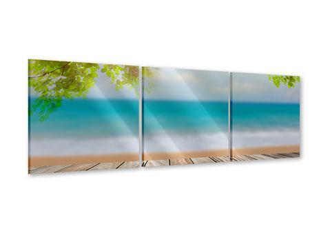 Panorama Acrylglasbild 3-teilig Strandterrasse