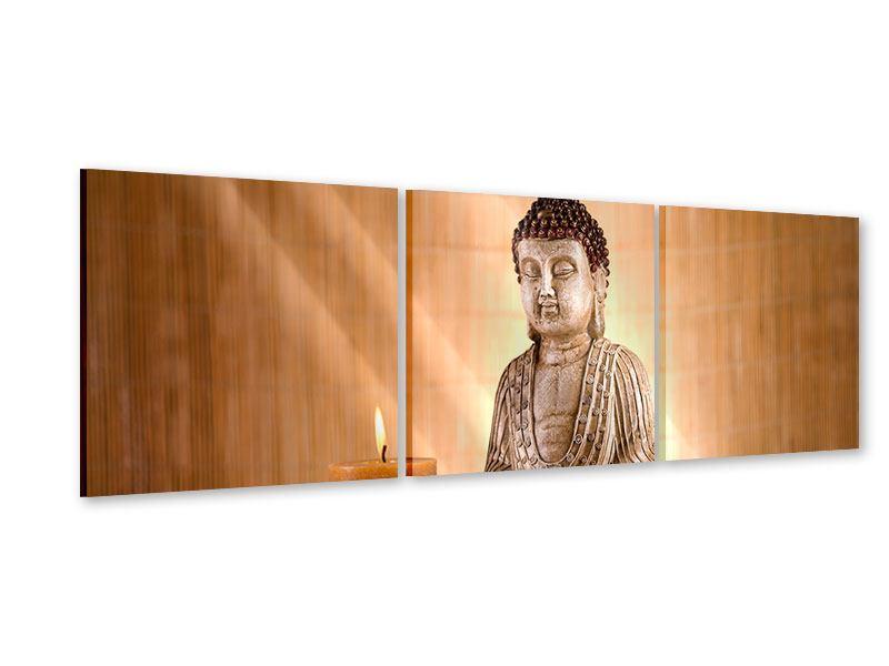 Panorama Acrylglasbild 3-teilig Buddha in der Meditation