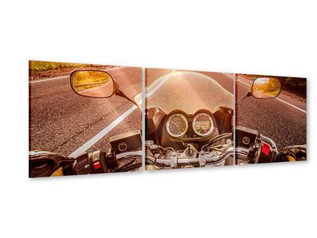 Panorama Acrylglasbild 3-teilig Motorrad-Tour