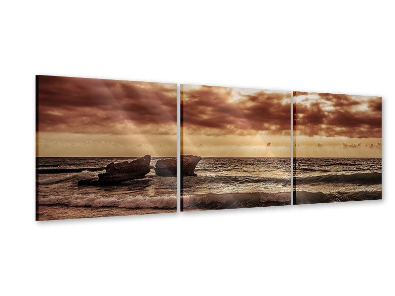 Panorama Acrylglasbild 3-teilig Meeresrauschen