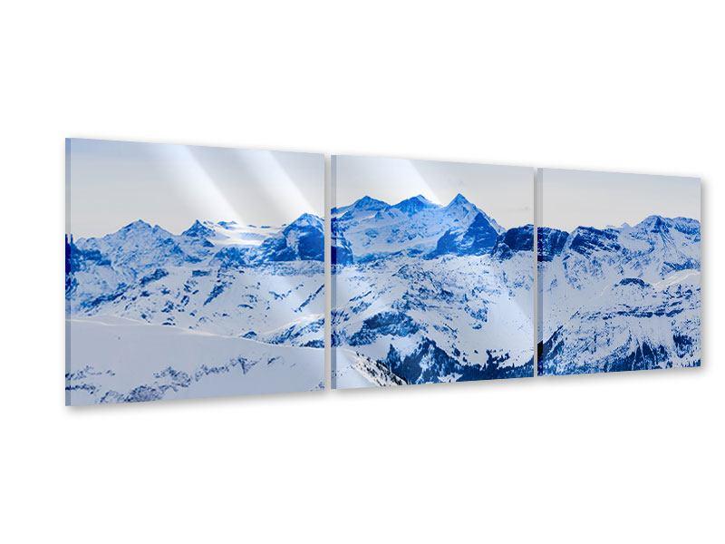 Panorama Acrylglasbild 3-teilig Die Schweizer Alpen
