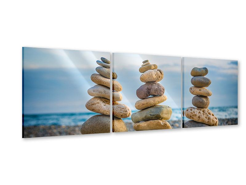 Panorama Acrylglasbild 3-teilig Drei Steinstapel
